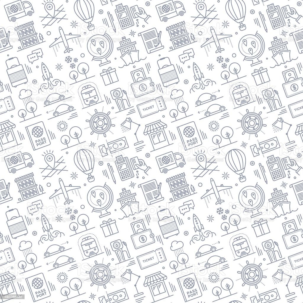 Seamless Travel Pattern vector art illustration