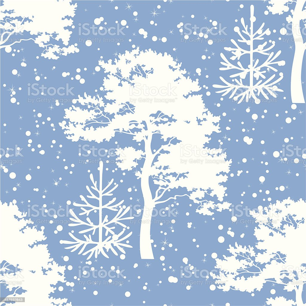 Seamless, trees silhouettes and snow vector art illustration