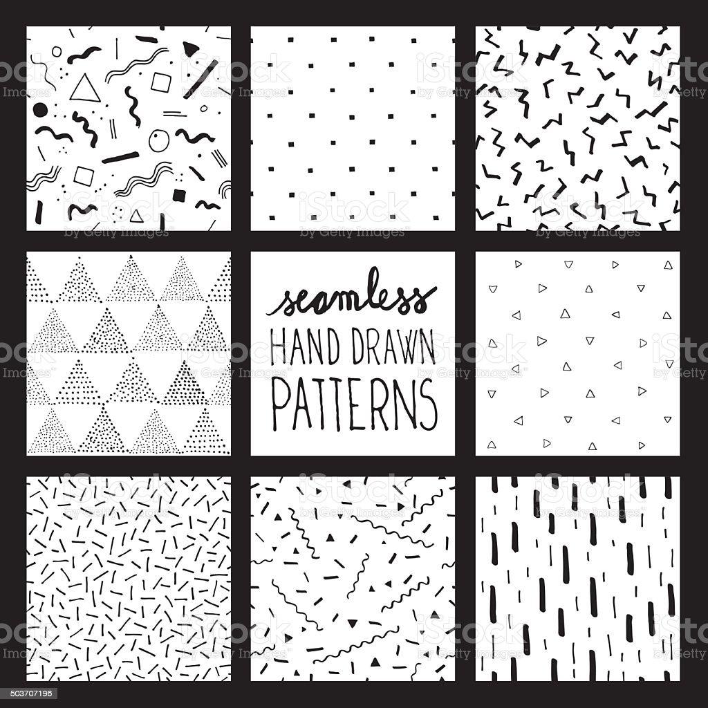Seamless trendy patterns vector art illustration