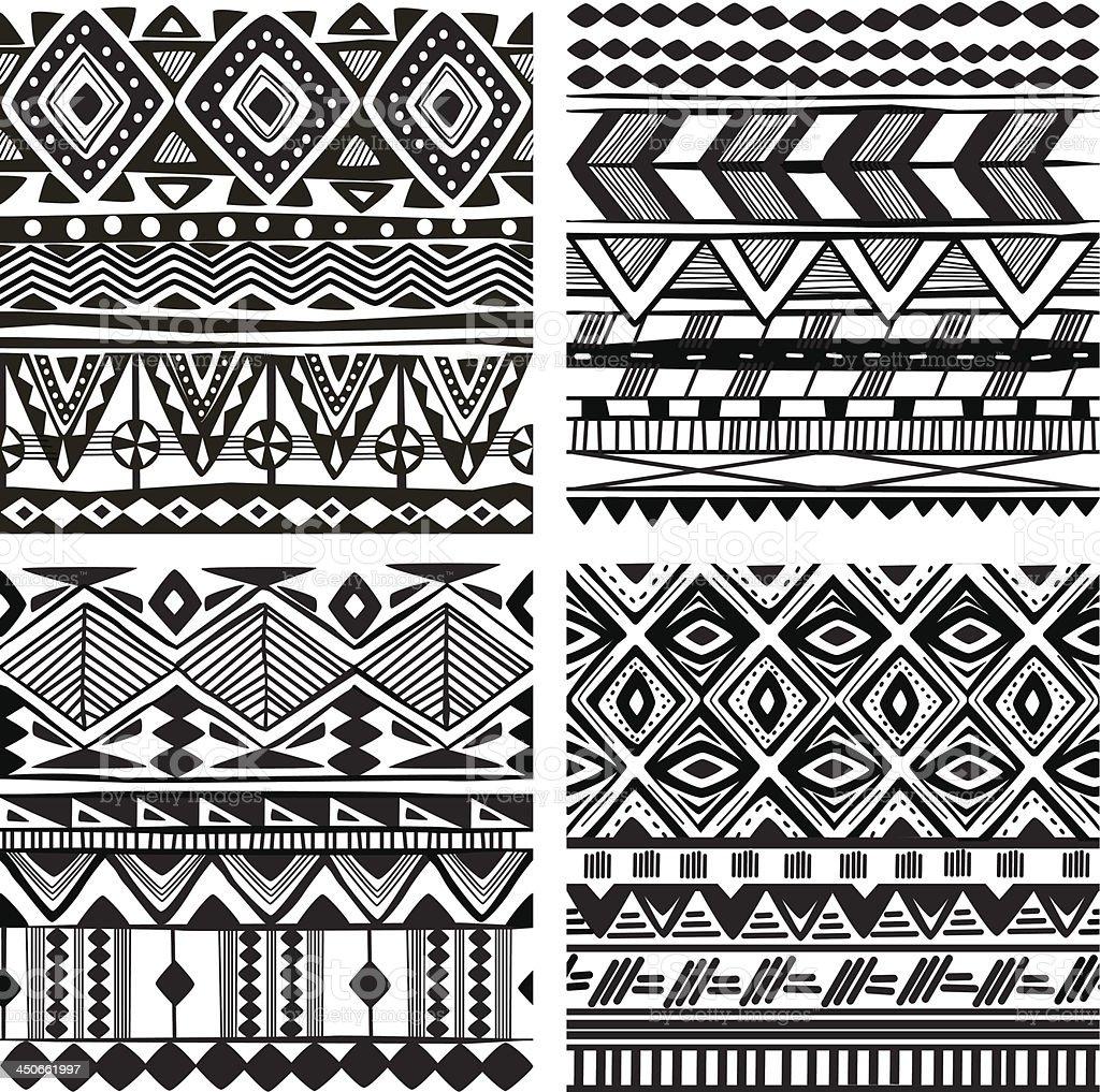 Seamless tribal texture vector art illustration