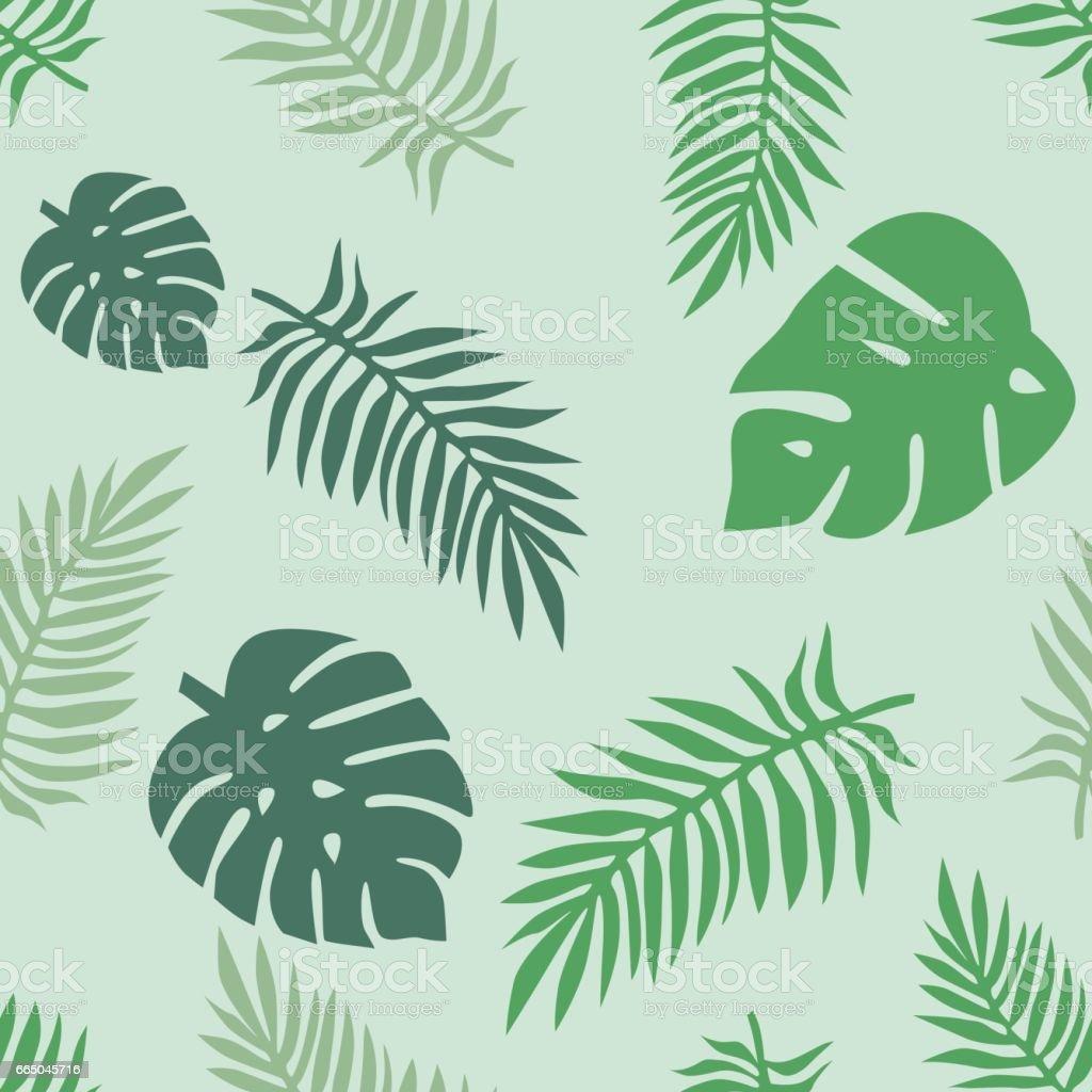 Seamless tropical flower vector pattern vector art illustration