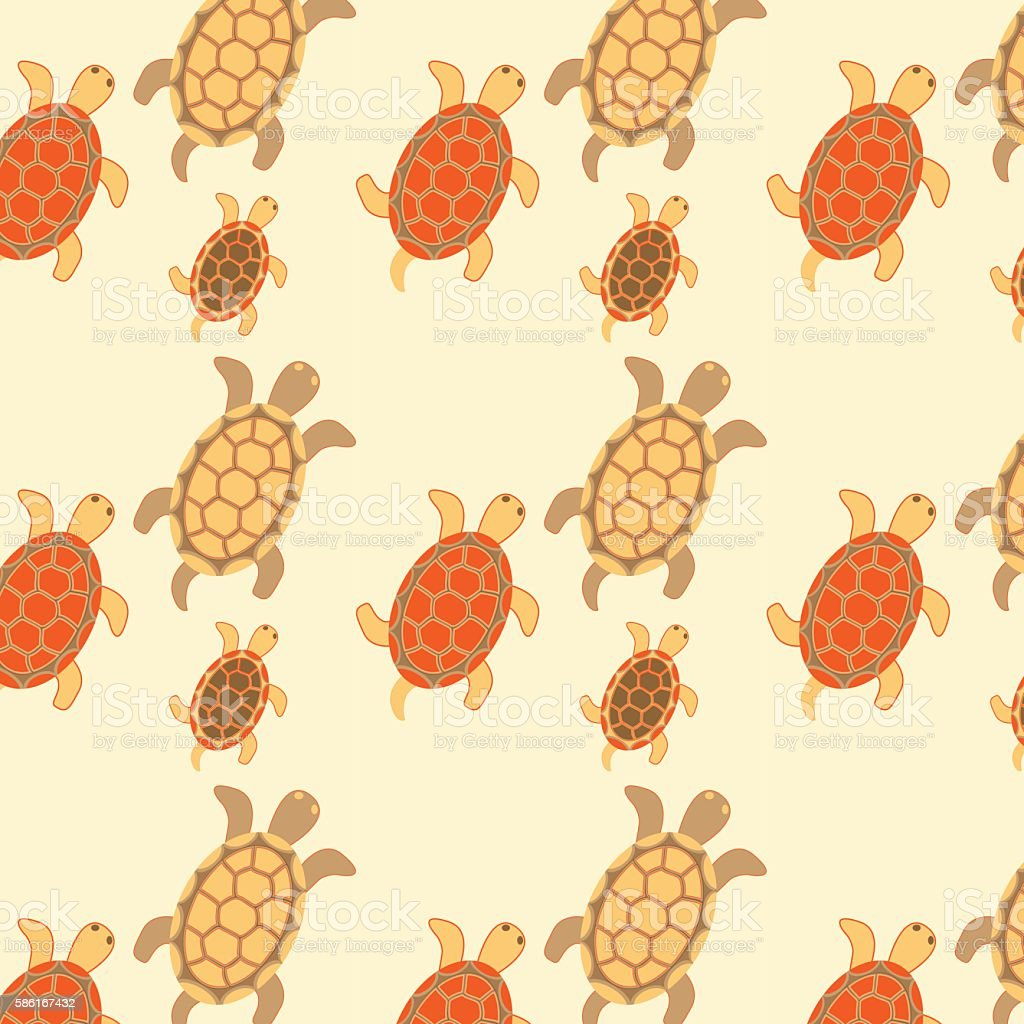 Seamless turtles colored royalty-free stock vector art