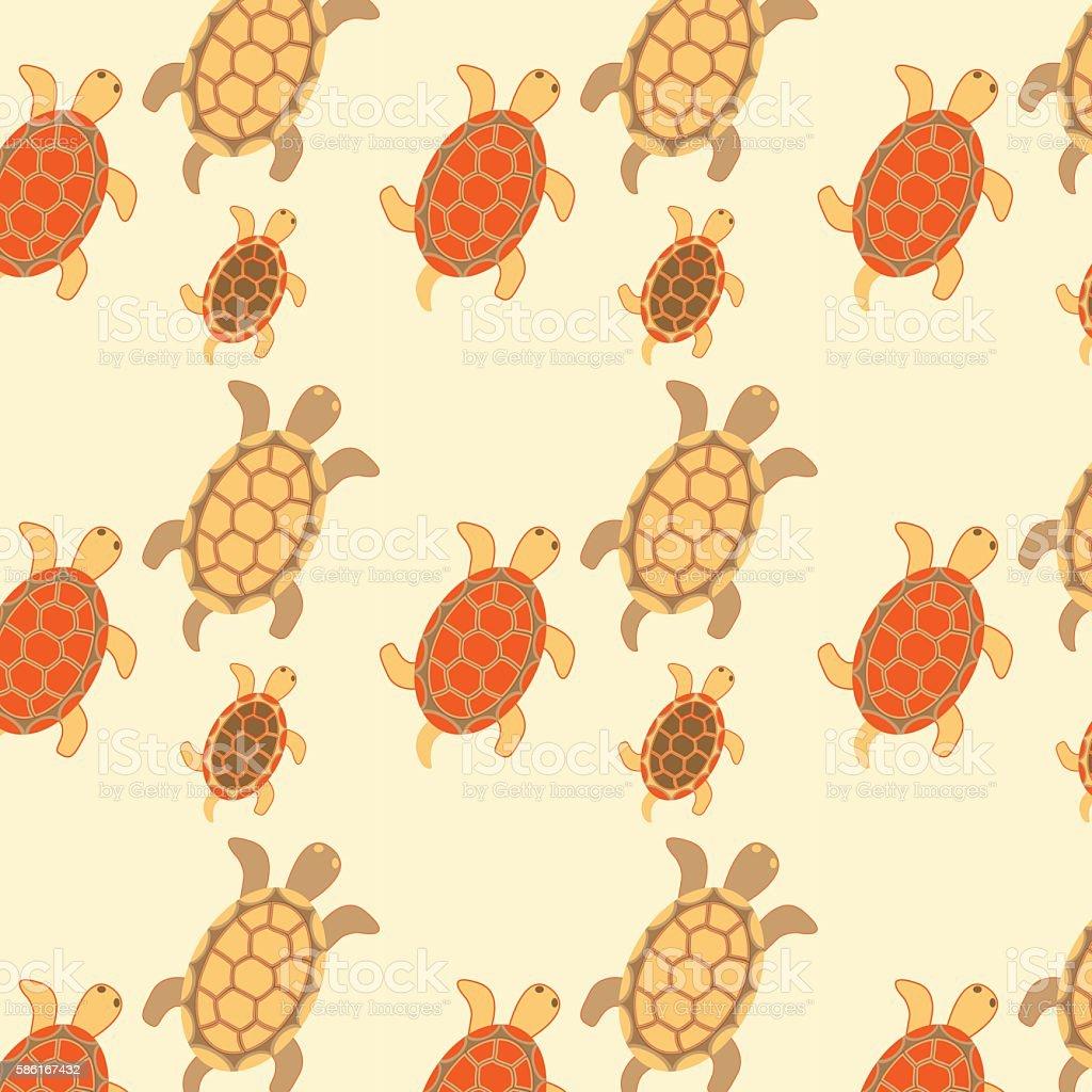 Seamless turtles colored vector art illustration