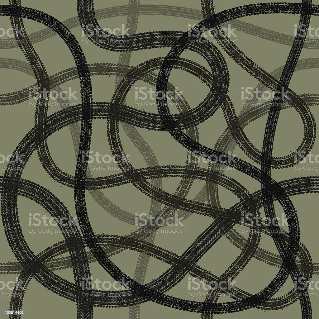 Seamless tyre tracks vector art illustration