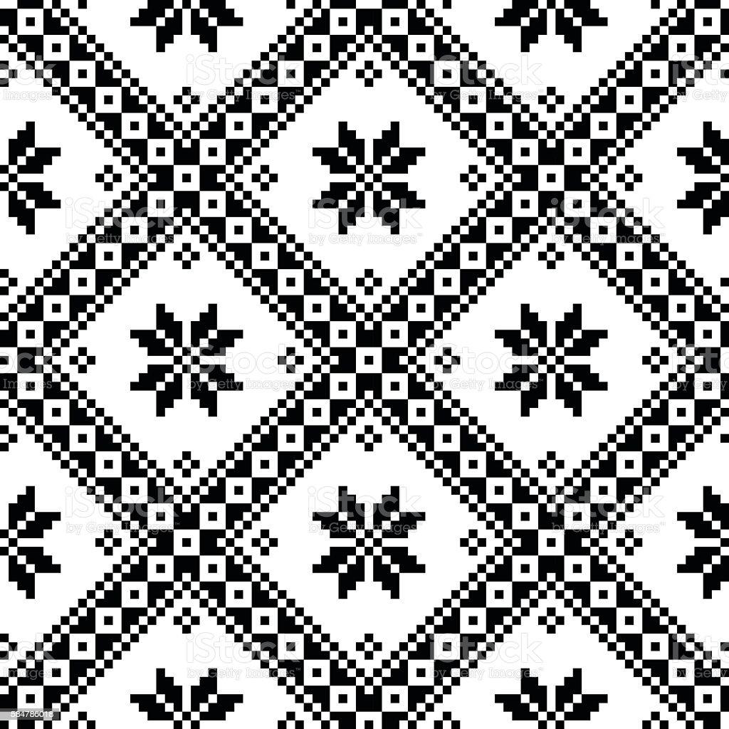 Seamless Ukrainian or Belarussian folk art embroidery black pattern vector art illustration