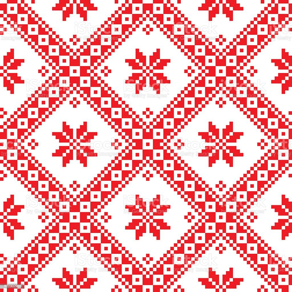 Seamless Ukrainian Slavic folk art embroidery pattern vector art illustration