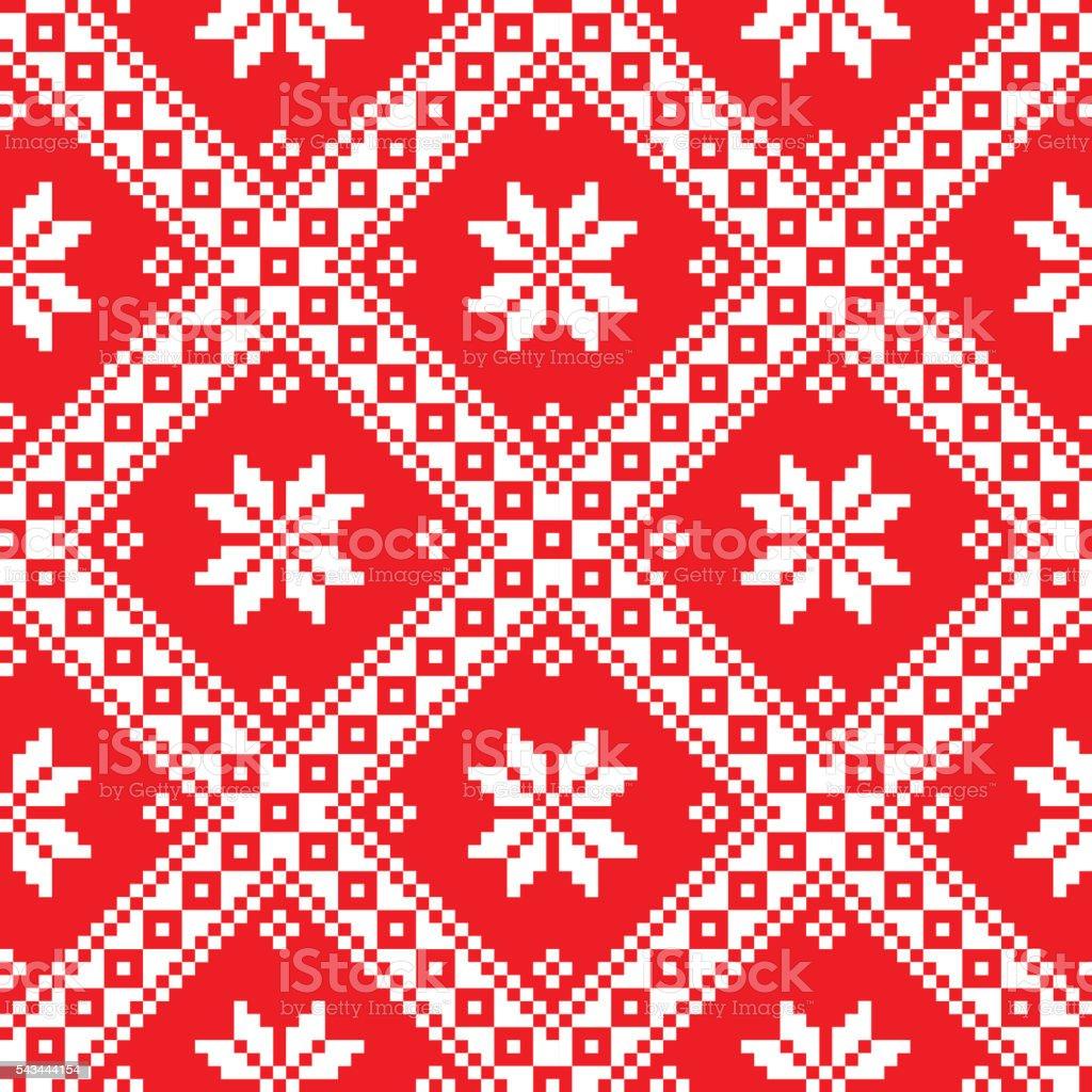 Seamless Ukrainian Slavic folk art red embroidery pattern vector art illustration