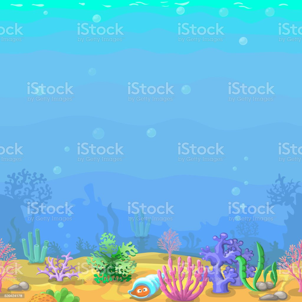 Seamless underwater landscape in cartoon style. vector art illustration