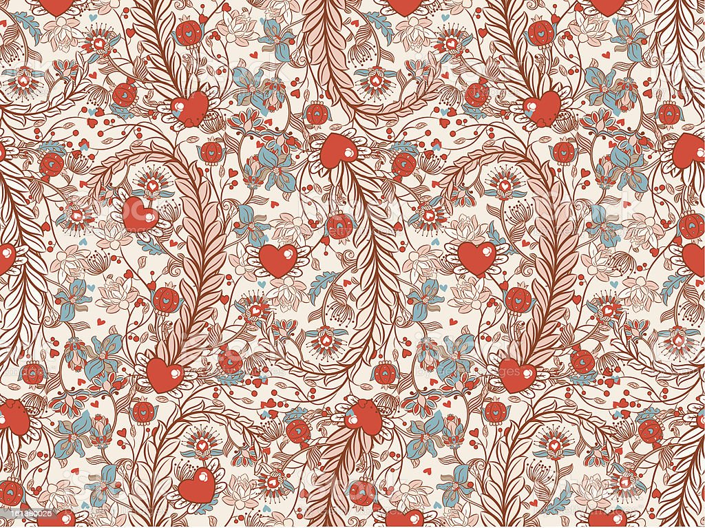 Seamless valentines decor pattern with flowers royalty-free stock vector art