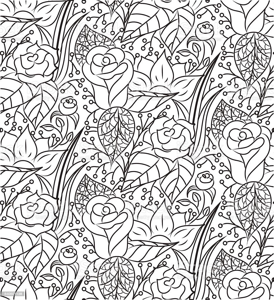 Seamless vector abstract hand-drawn floral texture vector art illustration