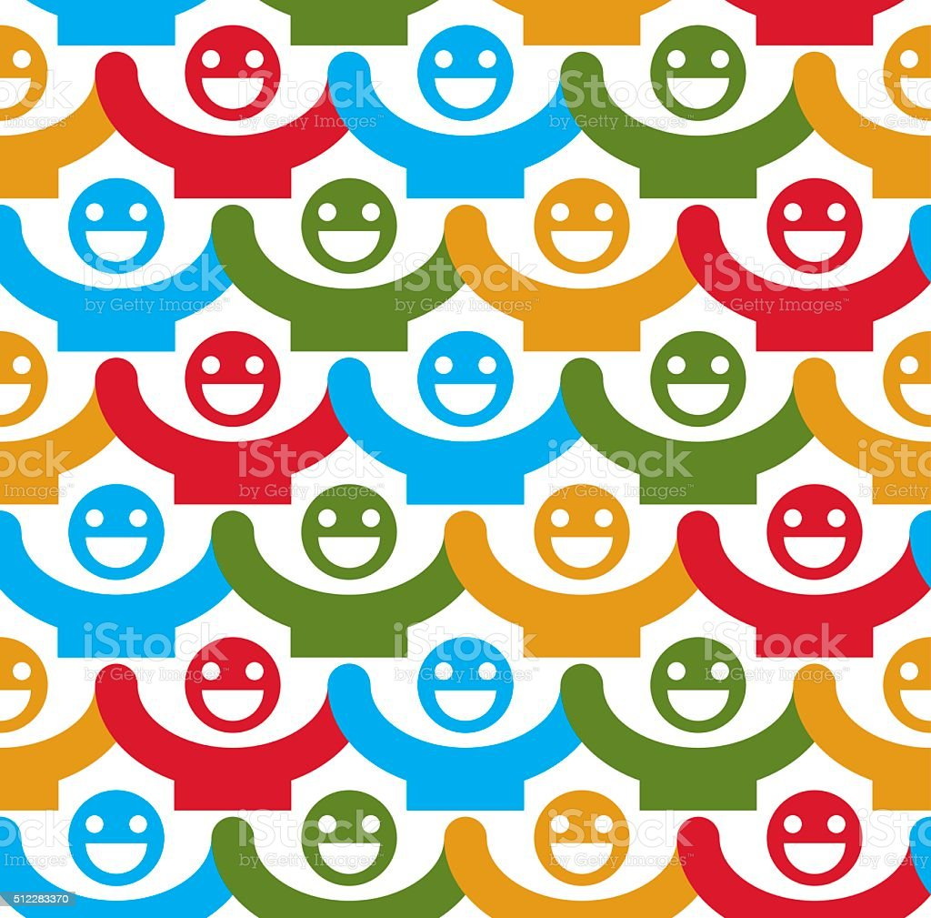 Seamless vector background with colorful smiley faces. People vector art illustration