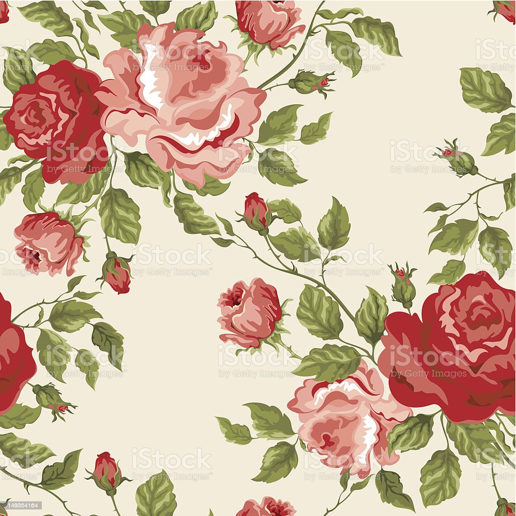 Seamless vector background with roses royalty-free stock vector art