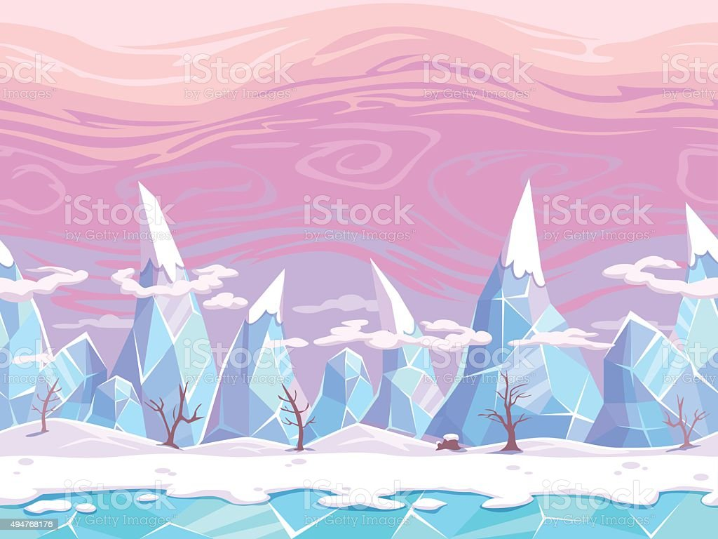 Seamless vector cartoon fantasy landscape vector art illustration