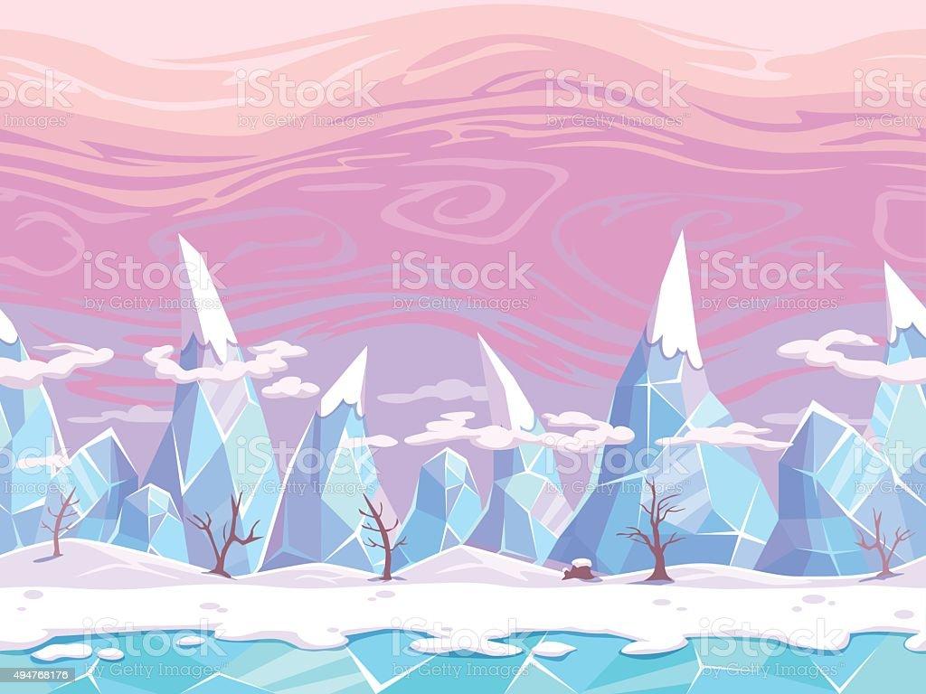 Seamless vector cartoon fantasy landscape vector art illustration