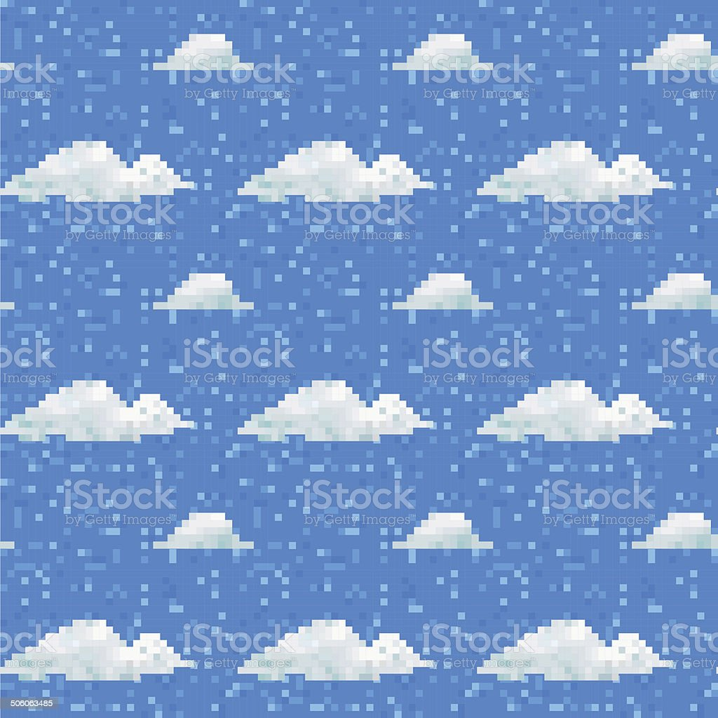 Seamless vector cloud pattern pixel art vector art illustration