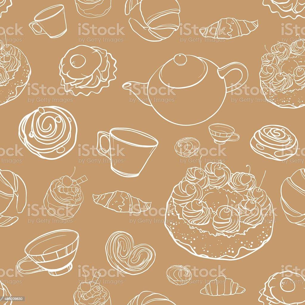 seamless vector contour pattern with baking, tea, cakes vector art illustration