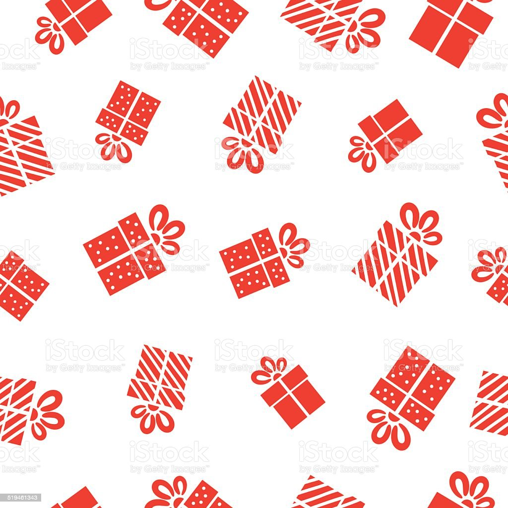 Seamless vector Gift pattern, red gift boxes on white background. vector art illustration