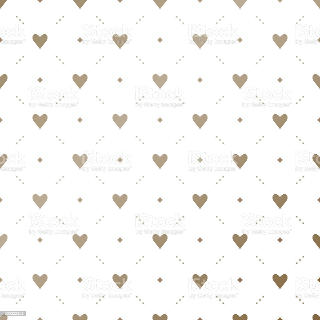 Seamless vector gold pattern with hearts on a white background vector art illustration