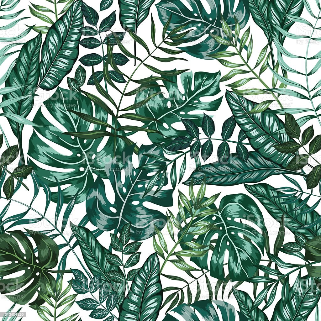 seamless vector graphical artistic tropical nature jungle pattern vector art illustration