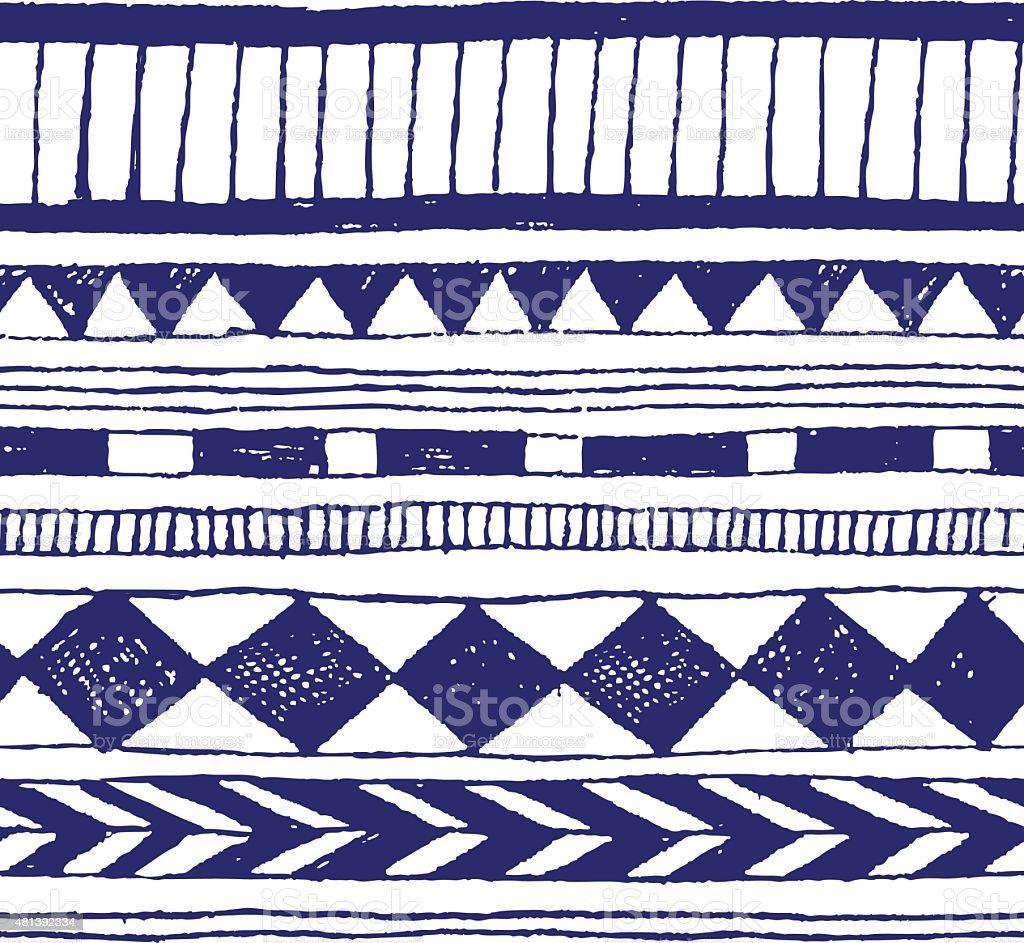 nahtloser vektor hand zeichnen tribal tinte muster vektor illustration 481392334 istock. Black Bedroom Furniture Sets. Home Design Ideas