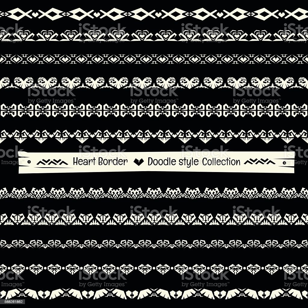 Seamless vector heart border collection in monochrome background vector art illustration