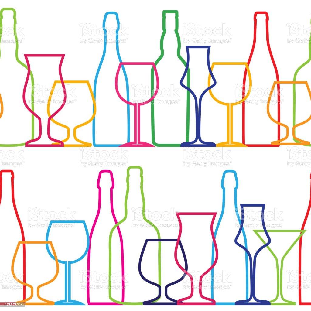 Seamless vector illustration pattern of silhouette bottles vector art illustration