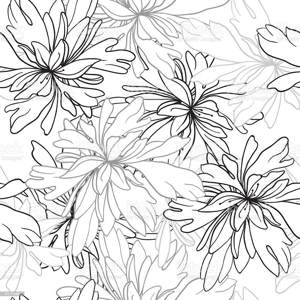 seamless vector monochrome pattern of abstract flowers and leaves royalty-free stock vector art