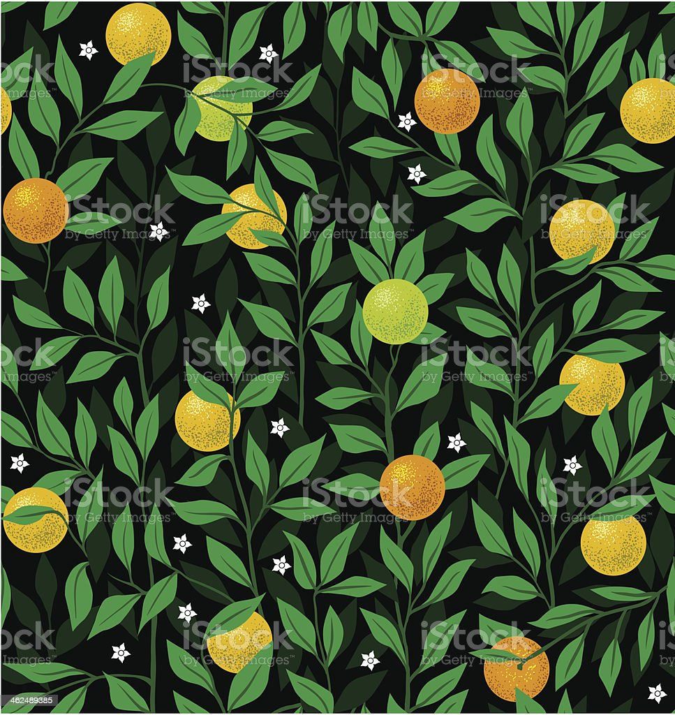 Seamless vector night pattern with an orange tree vector art illustration