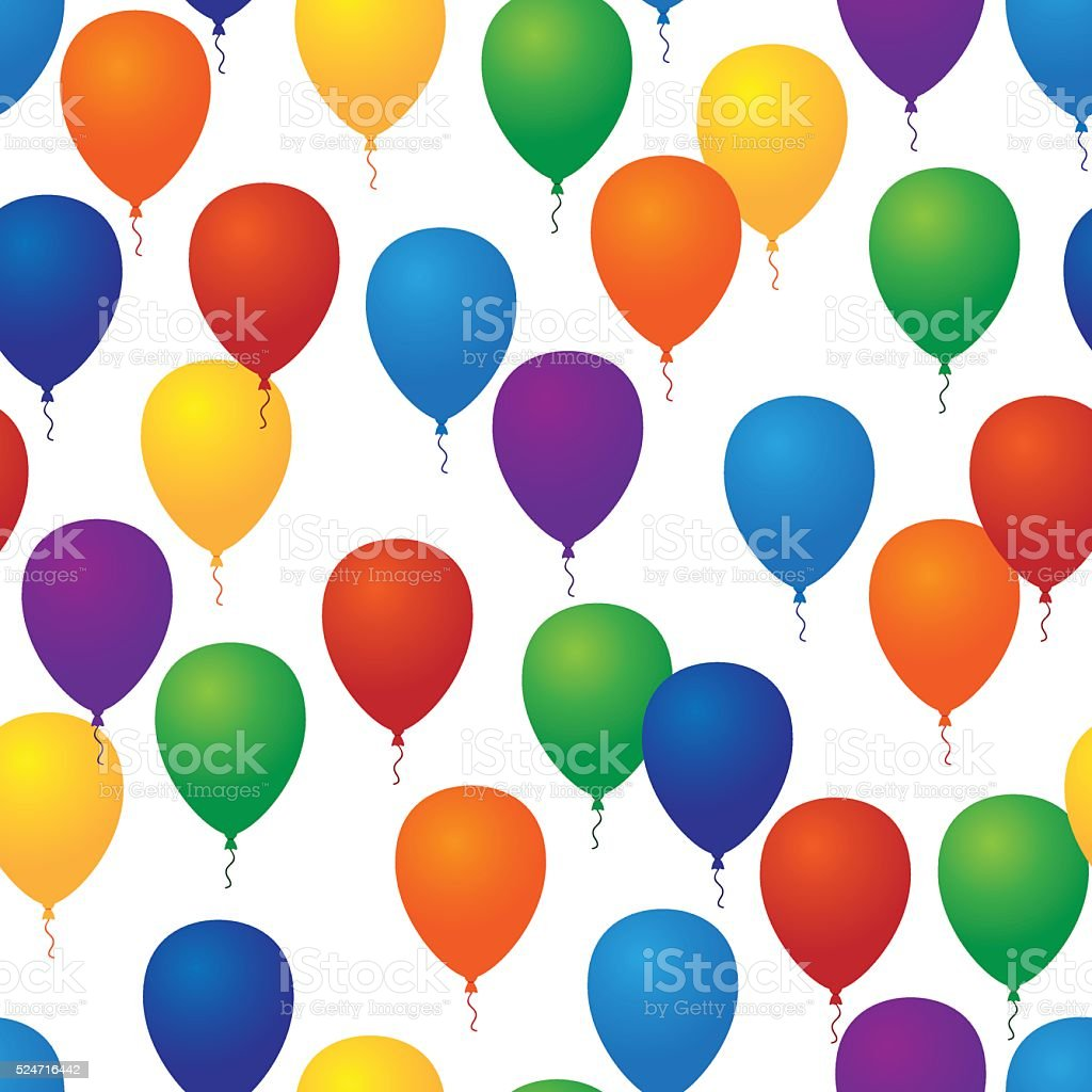 Seamless vector pattern. Background with colorful balloons vector art illustration