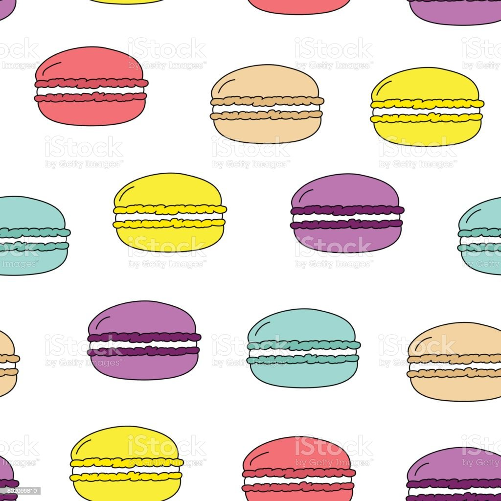 Seamless vector pattern colorful doodle macaroons on white background, fabric, gift wrapping, wallpaper, kids, product surface vector art illustration