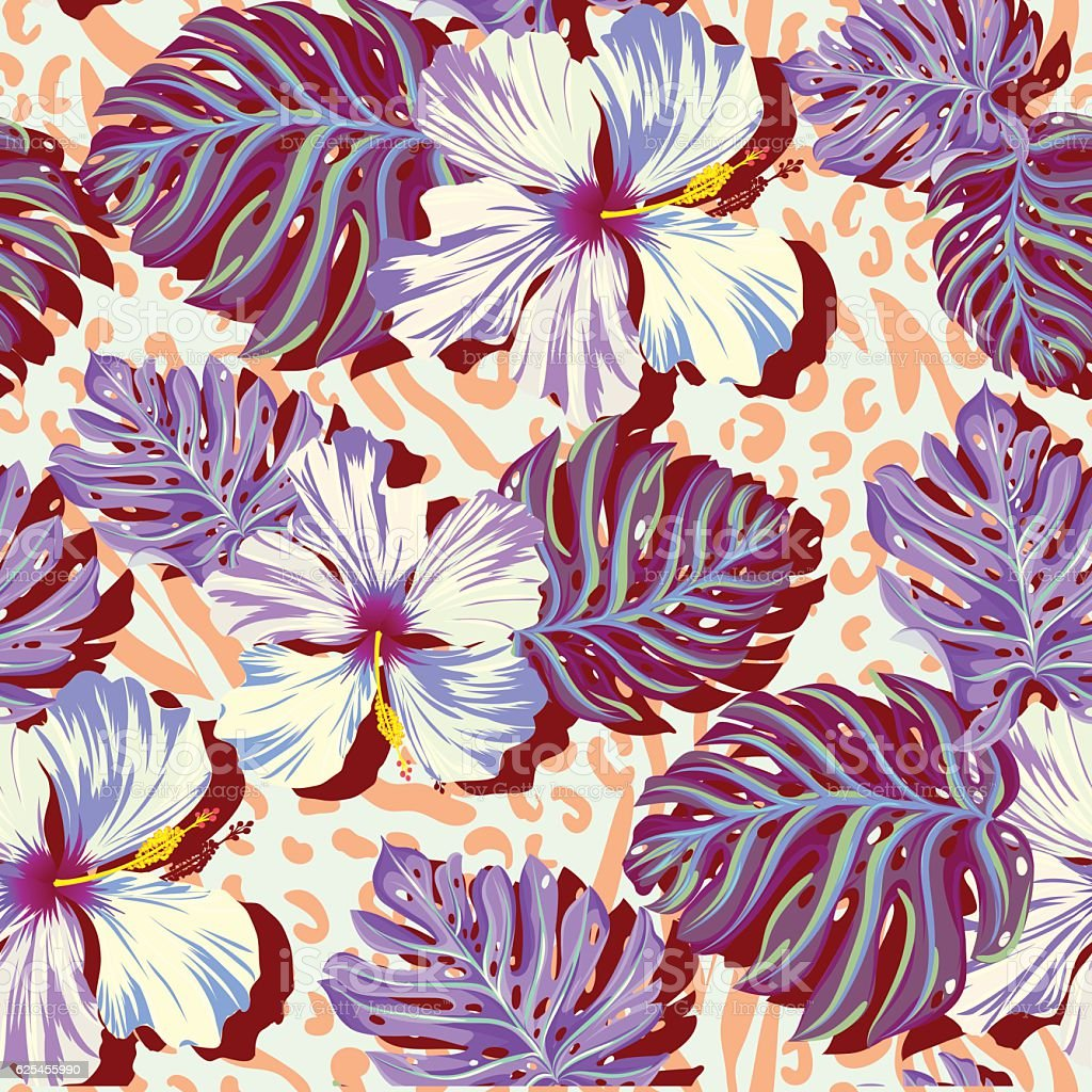 seamless vector pattern for men, aloha flowers in muted colors. vector art illustration