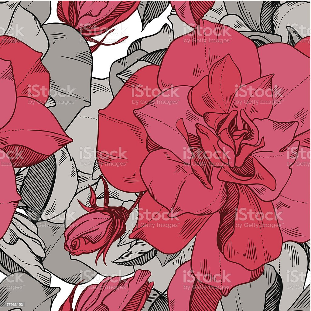 seamless vector pattern from abstract flowers rose royalty-free stock vector art