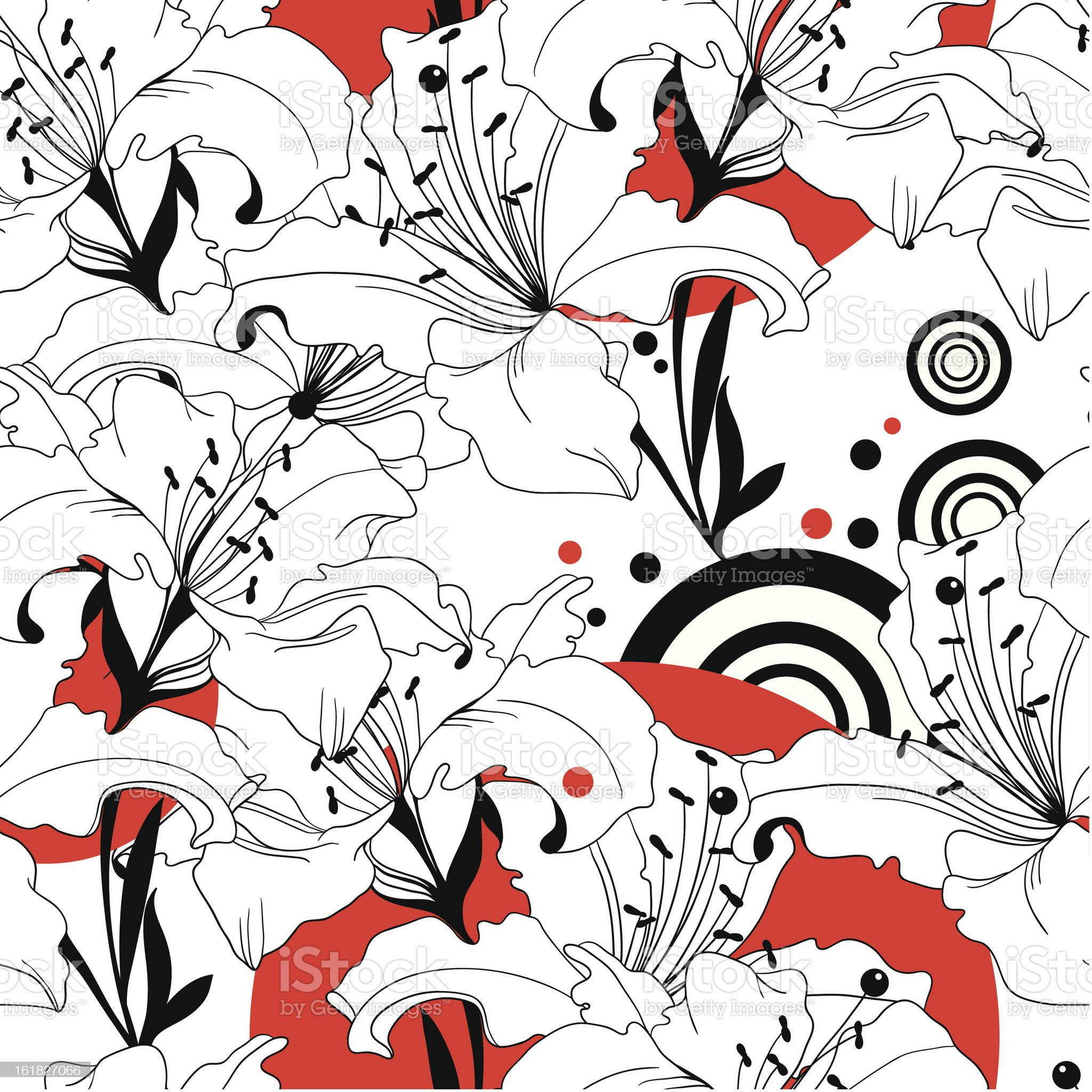 seamless vector pattern from black, white and red lilies royalty-free stock vector art
