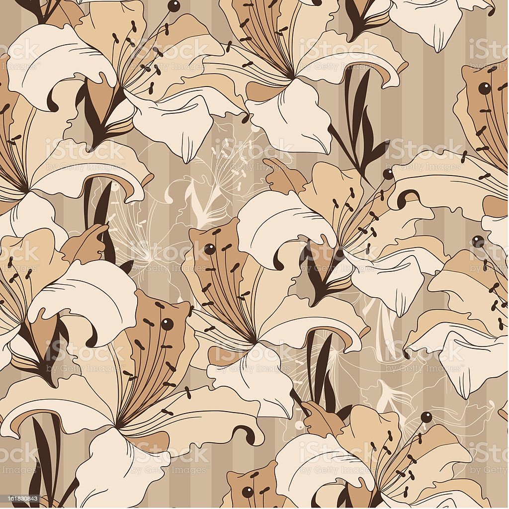seamless vector pattern from vintage lilies royalty-free stock vector art