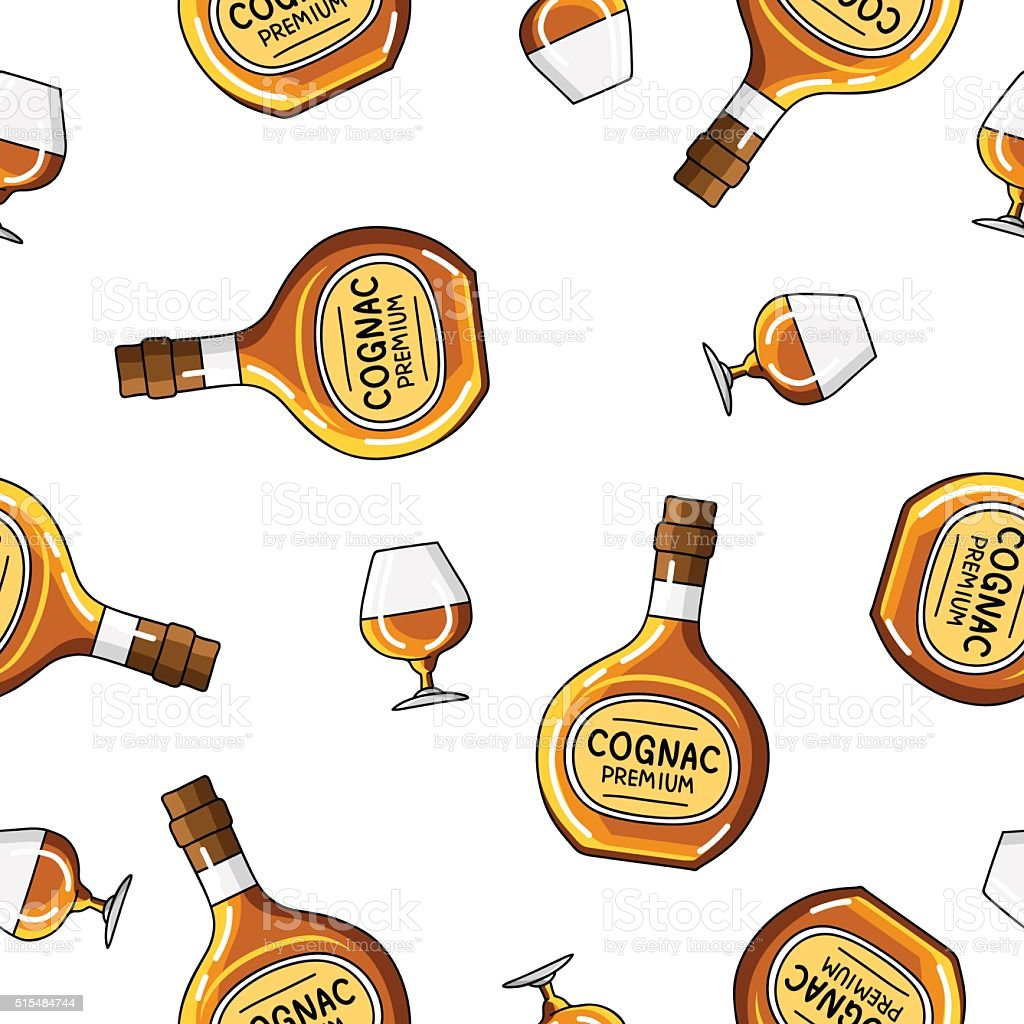 Seamless vector pattern of  bottles and glasses of brandy vector art illustration