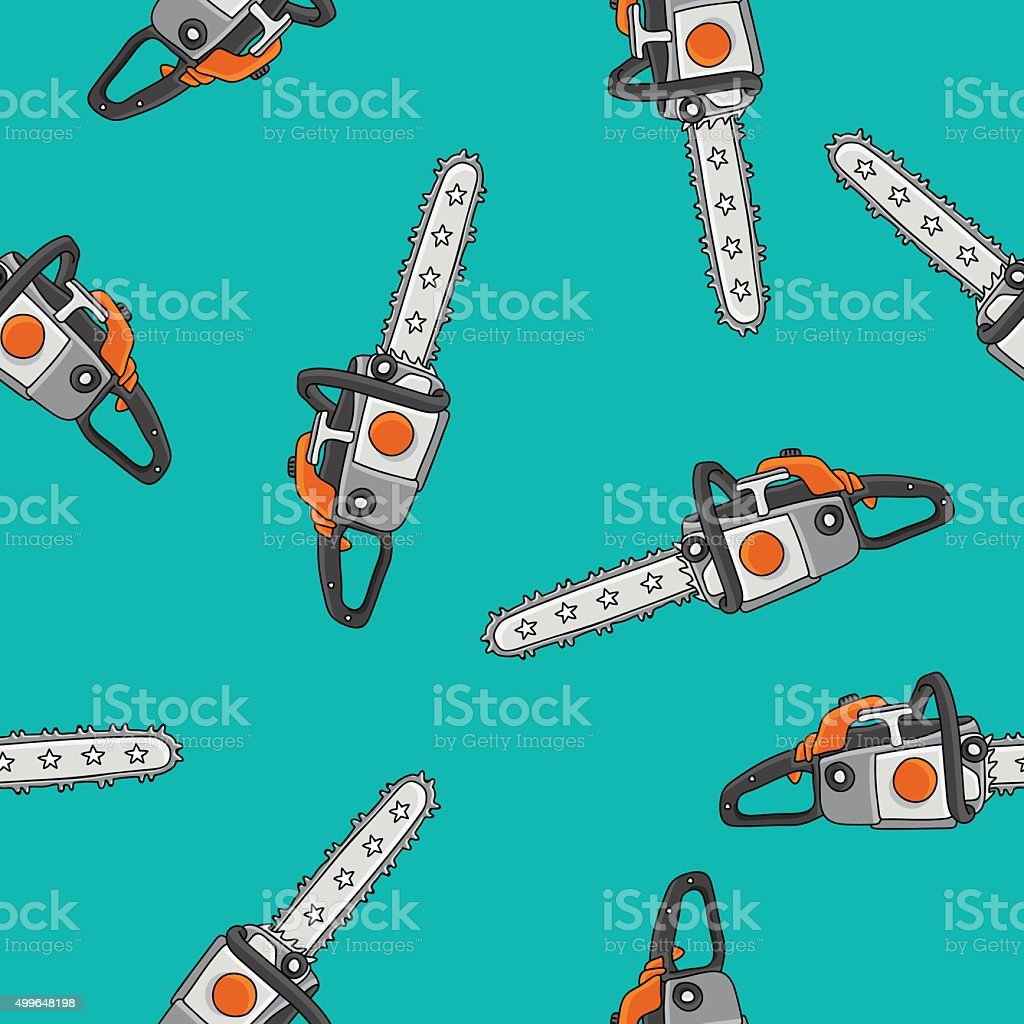 Seamless vector pattern of chain saws vector art illustration