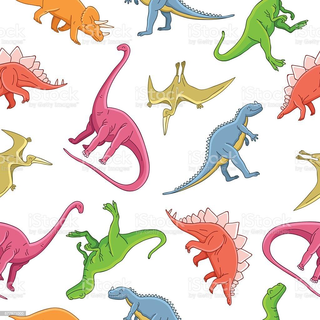 Seamless vector pattern of different dinosaurs vector art illustration