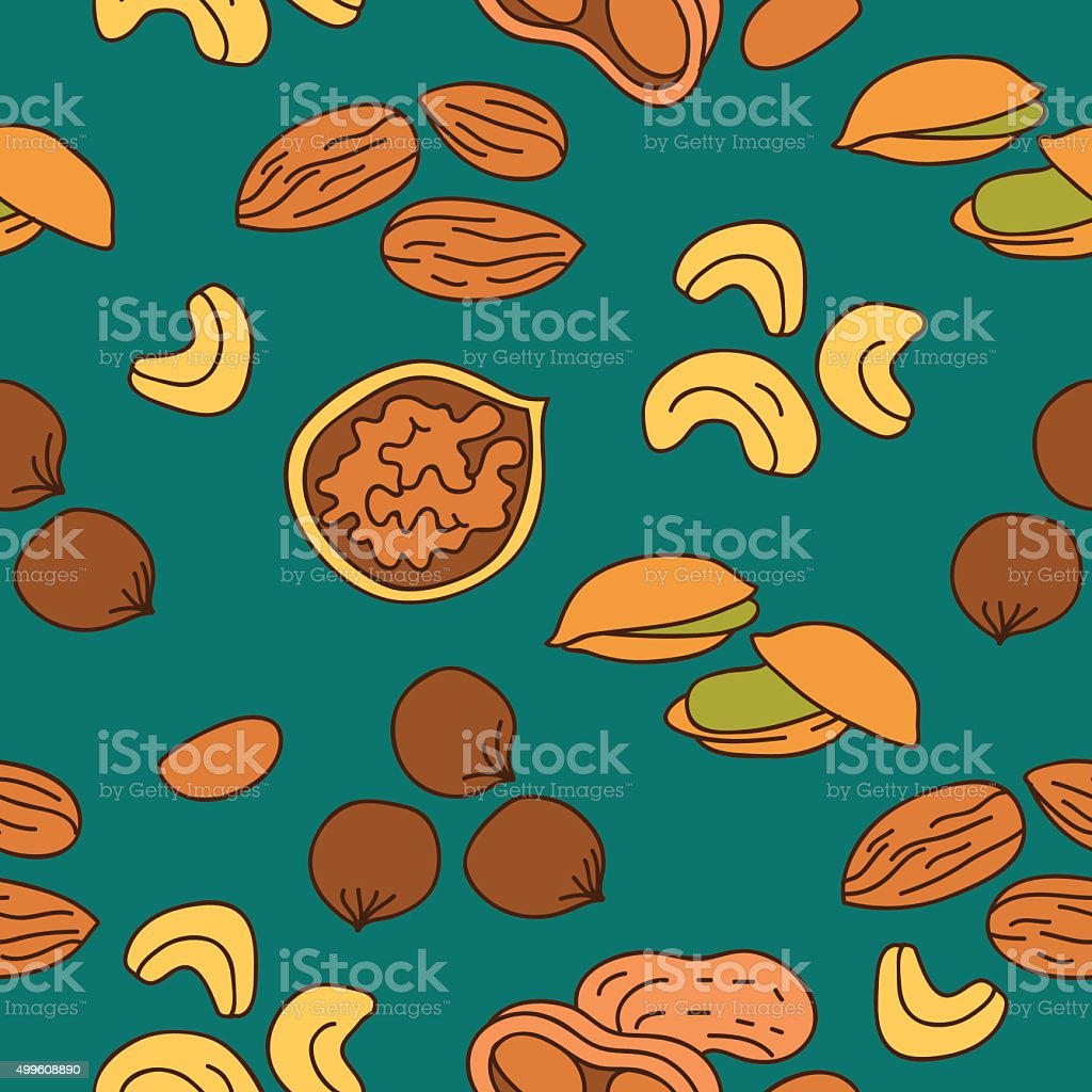 Seamless vector pattern of different nuts vector art illustration