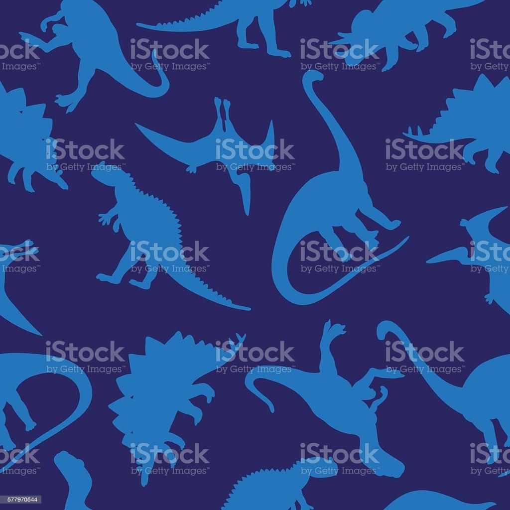 Seamless vector pattern of dinosaurs on blue background vector art illustration