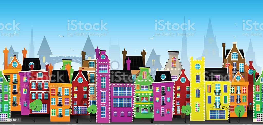 Seamless vector pattern of European city vector art illustration