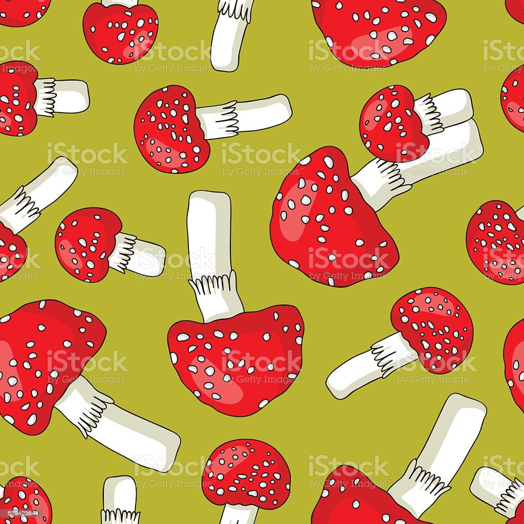 Seamless vector pattern of fly agaric vector art illustration