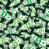 Seamless vector pattern of flying dollars