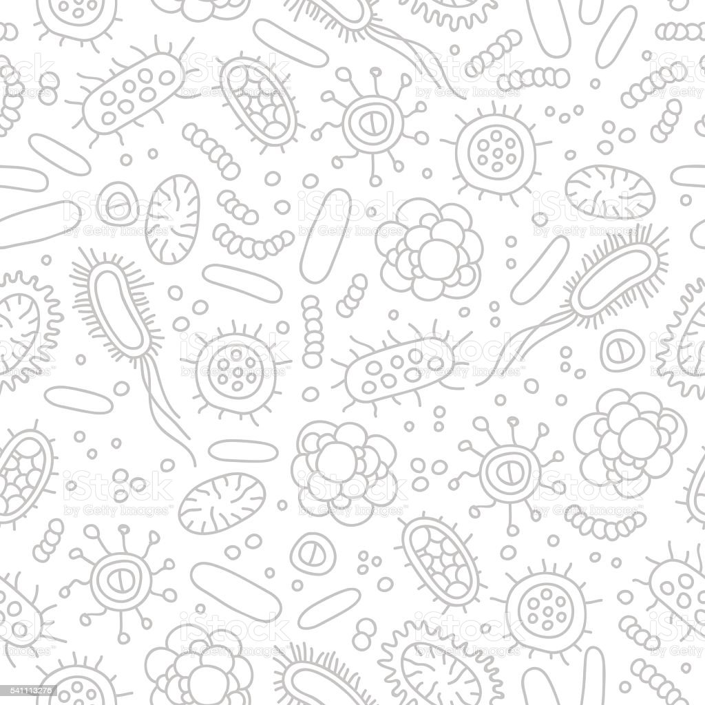 Seamless vector pattern of germs and bacteria vector art illustration