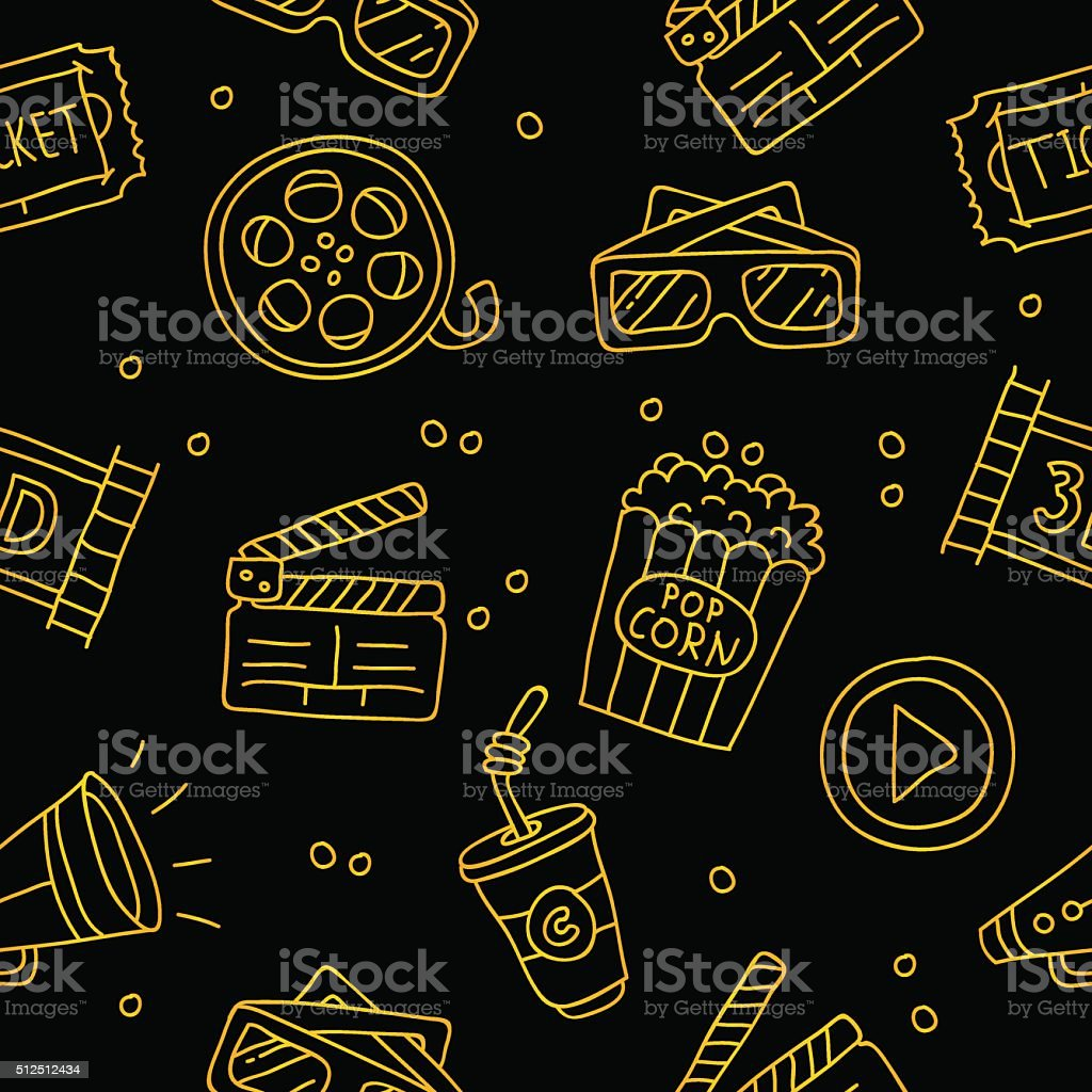 Seamless vector pattern of golden cinematic icons vector art illustration