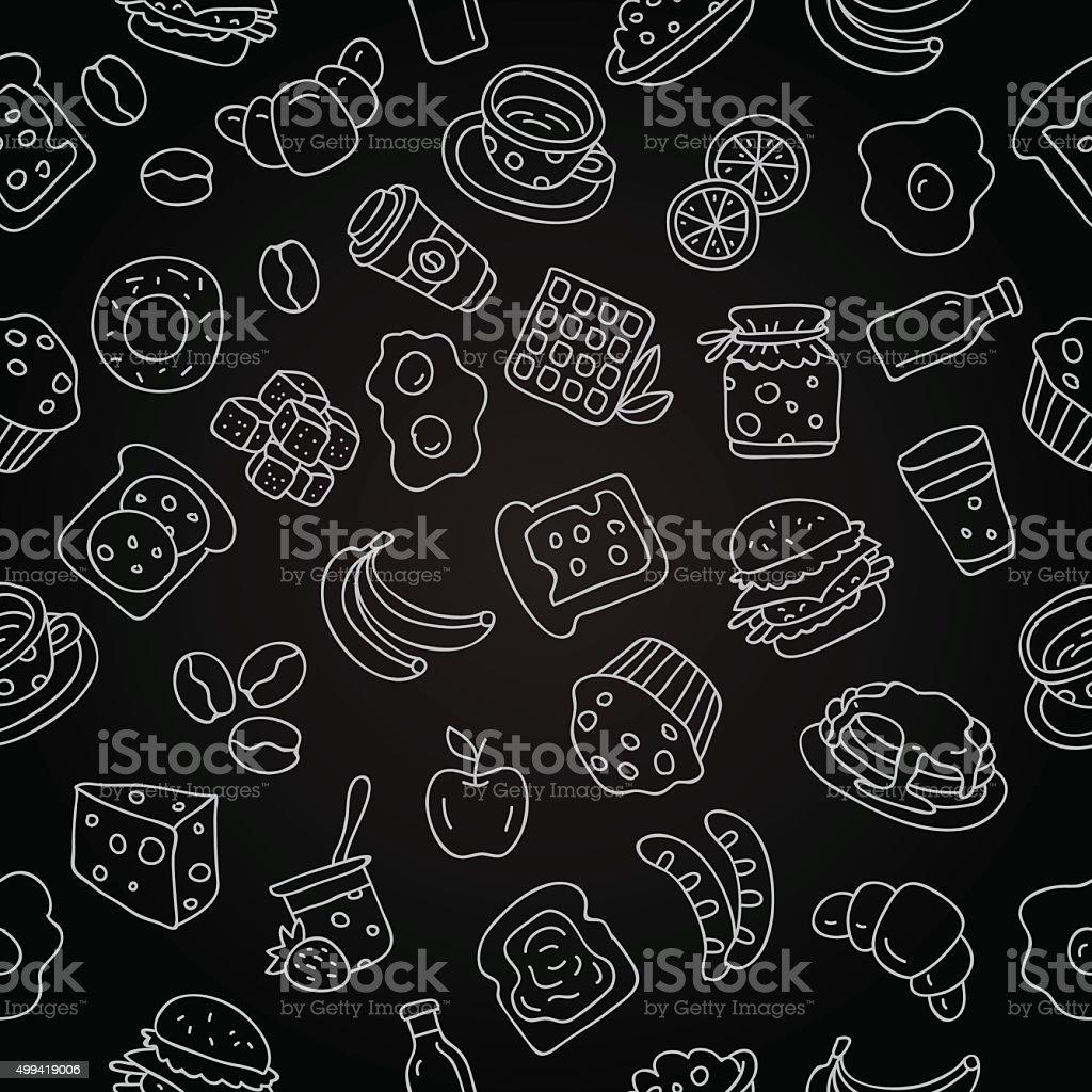Seamless vector pattern of icon for breakfast vector art illustration