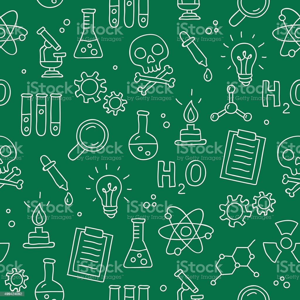 Seamless vector pattern of icon of chemistry vector art illustration