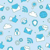 Seamless vector pattern of internet icons