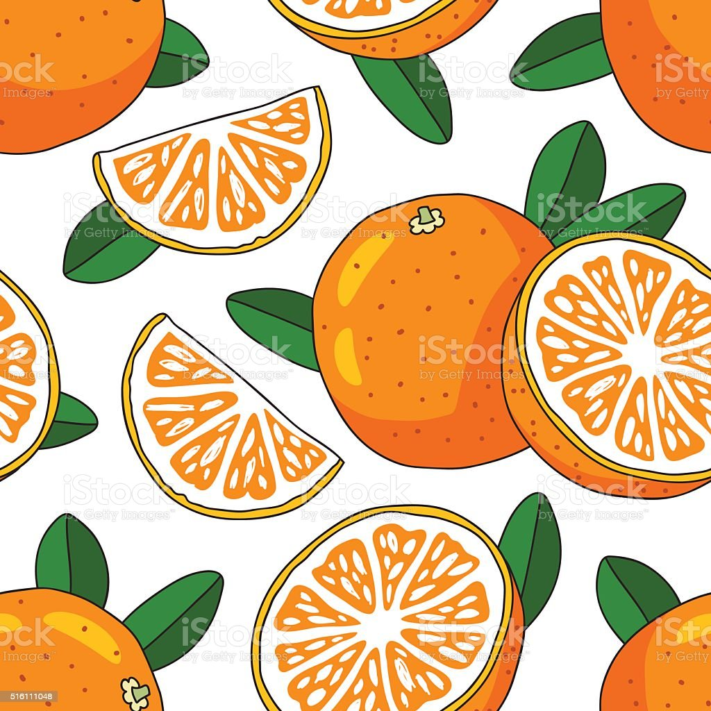 Seamless vector pattern of oranges vector art illustration