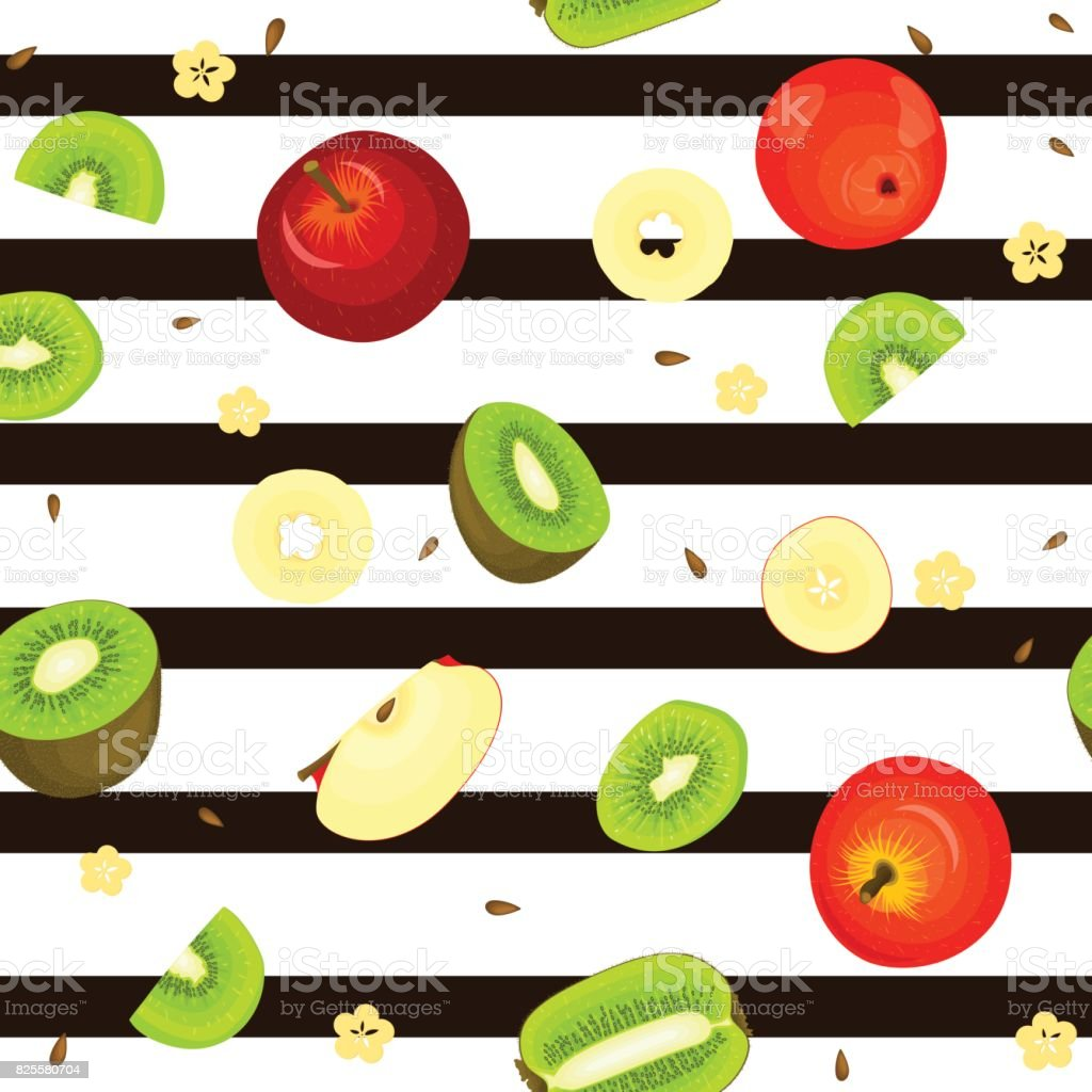Seamless vector pattern of ripe kiwi apple fruit. Striped background with delicious juicy kiwifruit  slice half.  fruits Illustration for printing on fabric textile, packaging vector art illustration