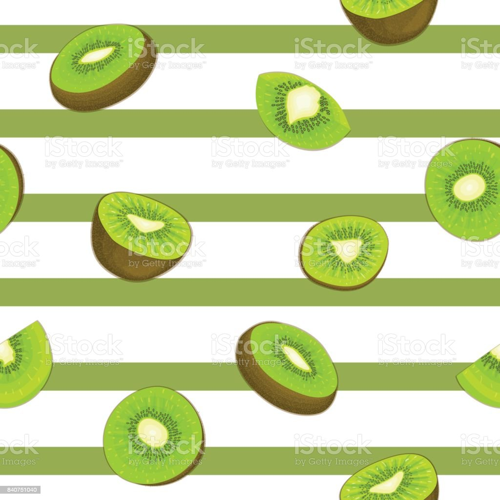 Seamless vector pattern of ripe kiwifruit. Striped background with delicious juicy green kiwi slice half  leaves.  fresh fruit Illustration for printing on fabric, textile, design packaging vector art illustration